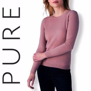 Pure Collection Cashmere Mauve Crew Neck Sweater L